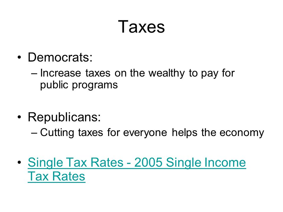 Taxes Democrats: –Increase taxes on the wealthy to pay for public programs Republicans: –Cutting taxes for everyone helps the economy Single Tax Rates
