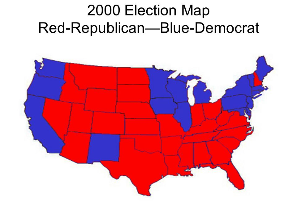 2000 Election Map Red-Republican—Blue-Democrat