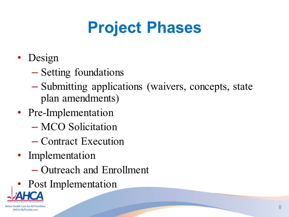 Project Phases Design –Setting foundations –Submitting applications (waivers, concepts, state plan amendments) Pre-Implementation –MCO Solicitation –C