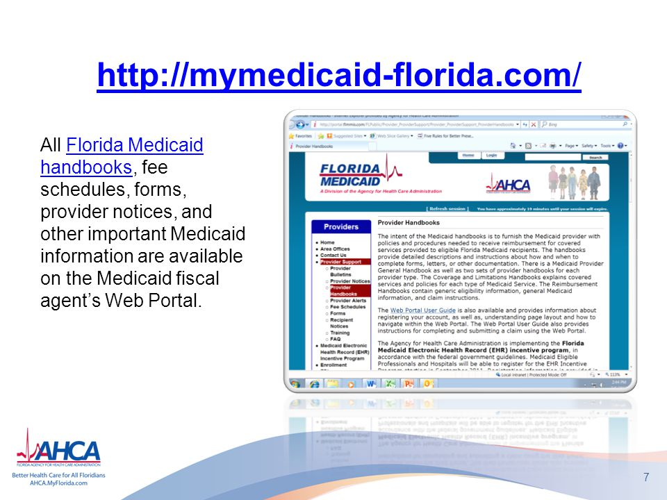 7 All Florida Medicaid handbooks, fee schedules, forms, provider notices, and other important Medicaid information are available on the Medicaid fiscal agent's Web Portal.Florida Medicaid handbooks http://mymedicaid-florida.com/