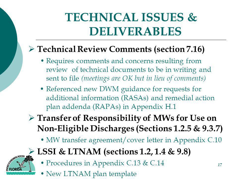 17 TECHNICAL ISSUES & DELIVERABLES  Technical Review Comments (section 7.16) Requires comments and concerns resulting from review of technical docume