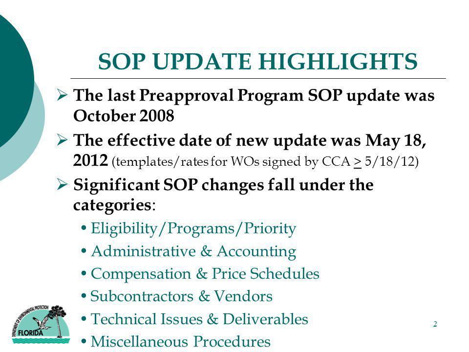 2 SOP UPDATE HIGHLIGHTS  The last Preapproval Program SOP update was October 2008  The effective date of new update was May 18, 2012 (templates/rate