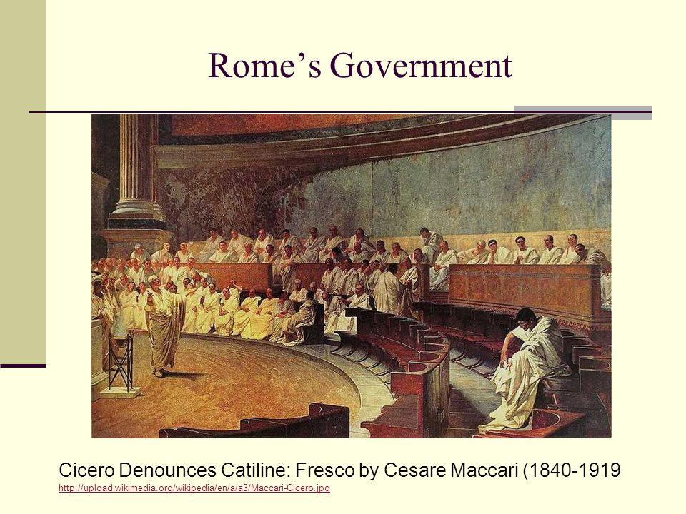 Rome's Government Cicero Denounces Catiline: Fresco by Cesare Maccari (1840-1919 http://upload.wikimedia.org/wikipedia/en/a/a3/Maccari-Cicero.jpg