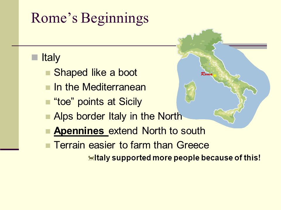 Italy Shaped like a boot In the Mediterranean toe points at Sicily Alps border Italy in the North Apennines extend North to south Terrain easier to farm than Greece  Italy supported more people because of this!