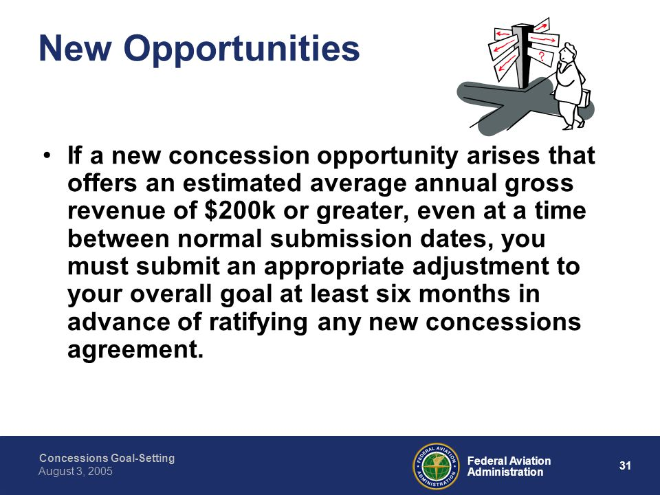 Concessions Goal-Setting 30 Federal Aviation Administration August 3, 2005 Public Participation 23.43 – You must provide for public participation by taking at least the steps listed in (b): These steps are identical to the public participation section at 26.45(g)(1) regarding consultation.