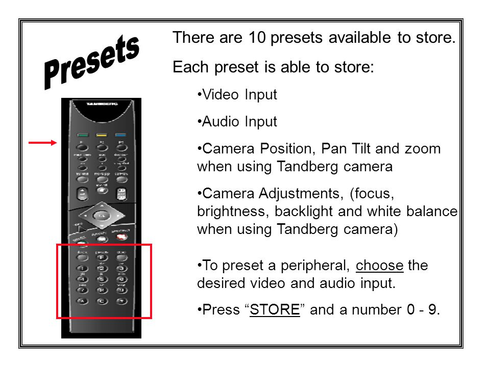There are 10 presets available to store.