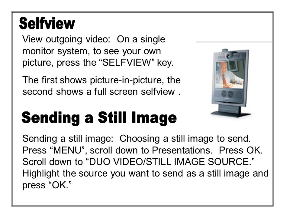 Press the SNAPSHOT key.The outgoing video remains frozen until the SELFVIEW KEY is pressed.