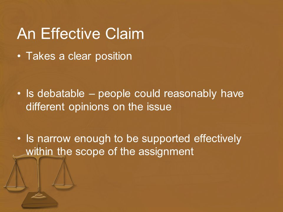 Teaching How to Focus a Claim A claim is a statement with which others may agree or disagree.