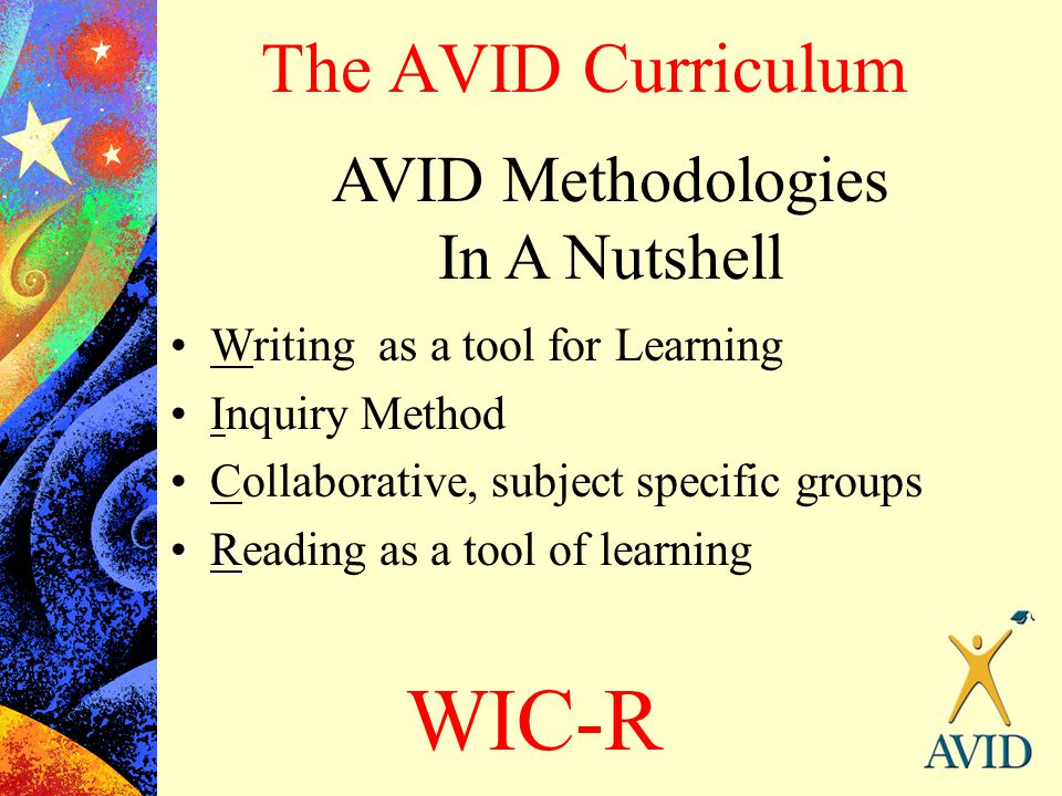 The AVID Curriculum AVID Methodologies In A Nutshell Writing as a tool for Learning Inquiry Method Collaborative, subject specific groups RReading as