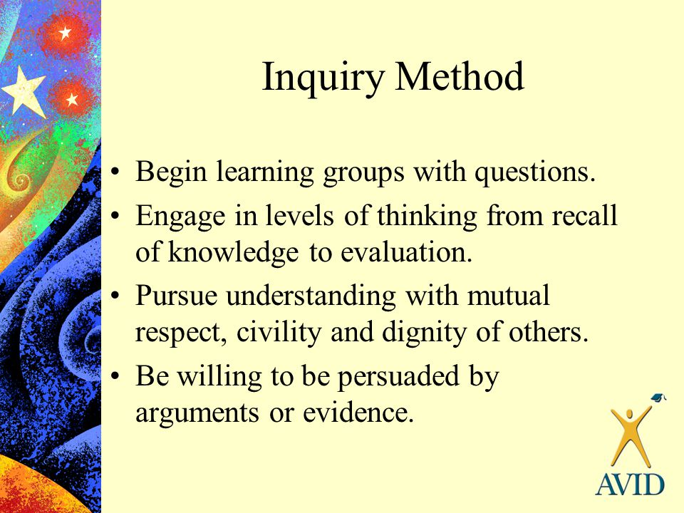Inquiry Method Begin learning groups with questions. Engage in levels of thinking from recall of knowledge to evaluation. Pursue understanding with mu