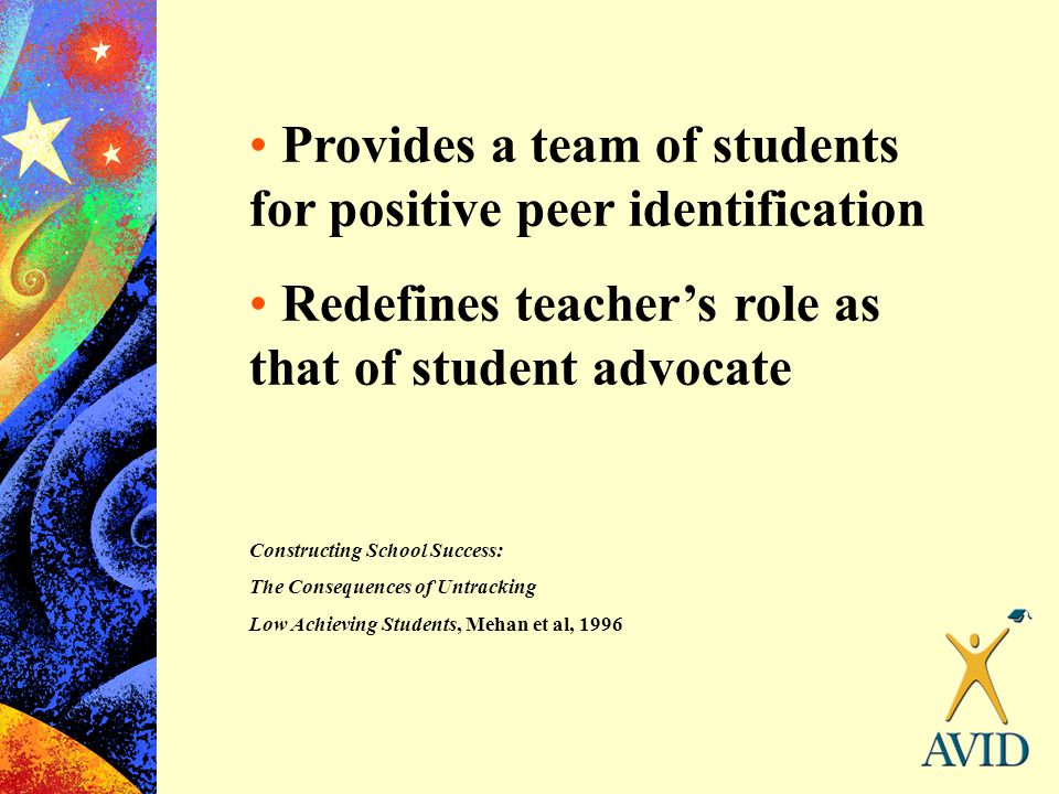 Provides a team of students for positive peer identification Redefines teacher's role as that of student advocate Constructing School Success: The Con
