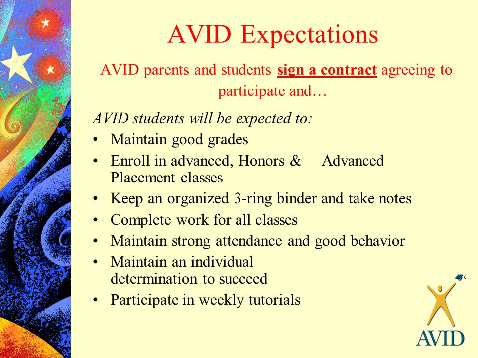 AVID Expectations AVID parents and students sign a contract agreeing to participate and… AVID students will be expected to: Maintain good grades Enrol