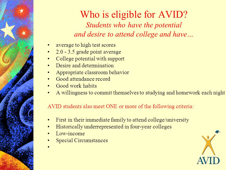 Who is eligible for AVID? Students who have the potential and desire to attend college and have… average to high test scores 2.0 - 3.5 grade point ave