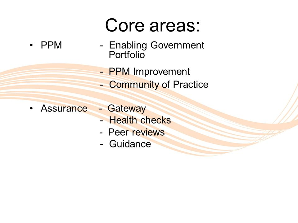 Valuing People Core areas: PPM - Enabling Government Portfolio - PPM Improvement - Community of Practice Assurance - Gateway - Health checks - Peer reviews - Guidance
