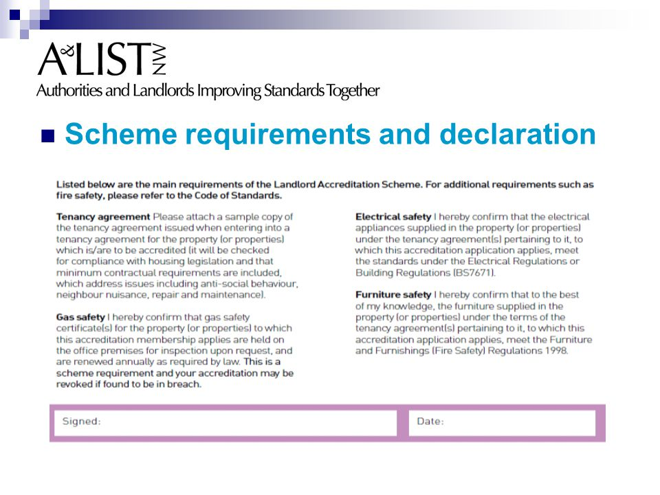 Scheme requirements and declaration