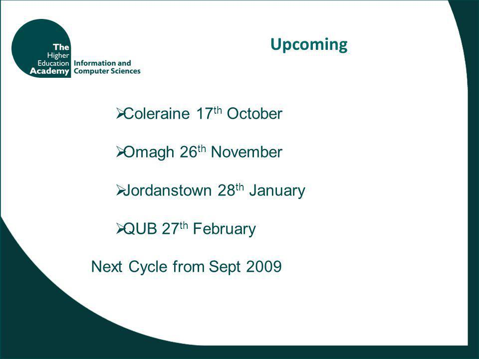 Upcoming  Coleraine 17 th October  Omagh 26 th November  Jordanstown 28 th January  QUB 27 th February Next Cycle from Sept 2009