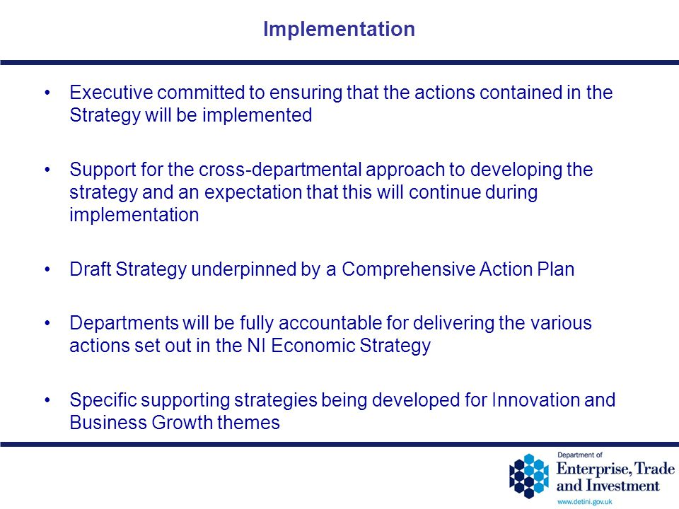12-46 Implementation Executive committed to ensuring that the actions contained in the Strategy will be implemented Support for the cross-departmental