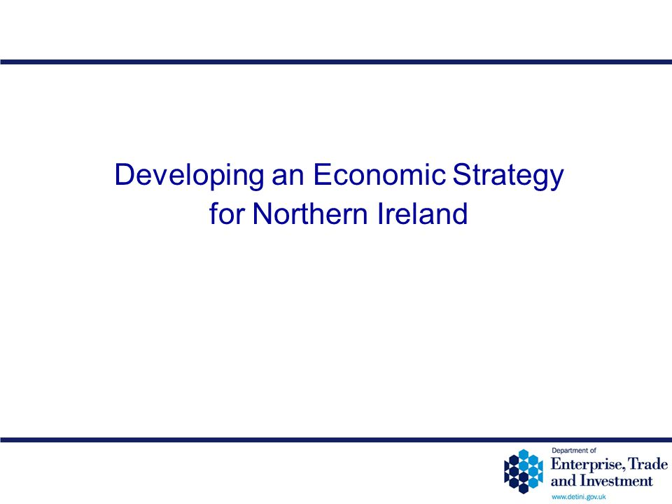 12-50 Developing an Economic Strategy for Northern Ireland