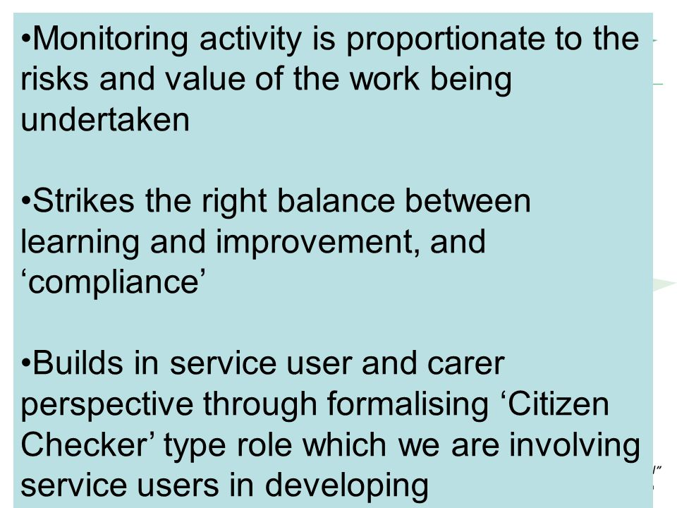 Commissioning cycle… Monitoring activity is proportionate to the risks and value of the work being undertaken Strikes the right balance between learni