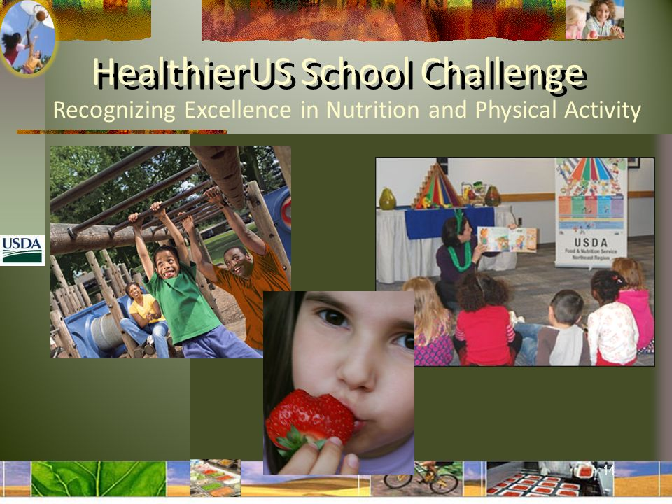 Recognizing Excellence in Nutrition and Physical Activity HealthierUS School Challenge 14