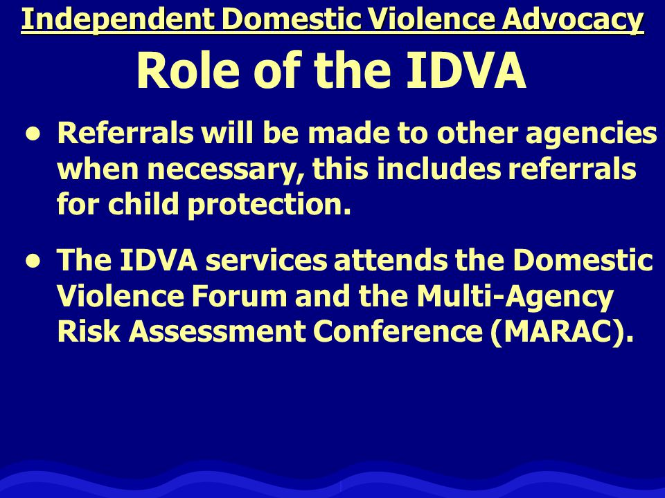 Independent Domestic Violence Advocacy Referrals will be made to other agencies when necessary, this includes referrals for child protection.