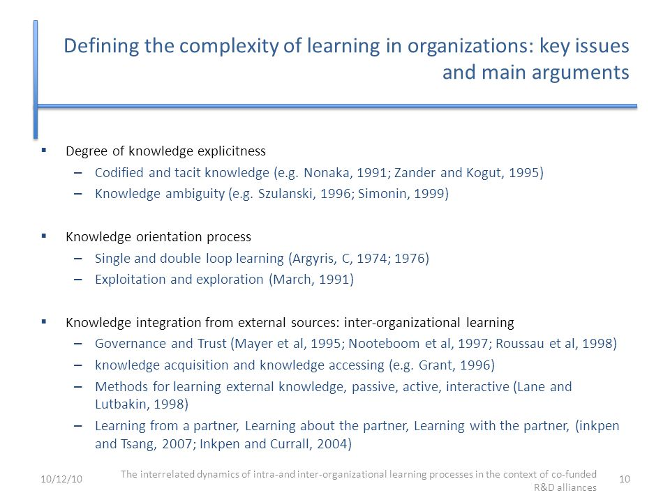 Defining the complexity of learning in organizations: key issues and main arguments  Degree of knowledge explicitness – Codified and tacit knowledge (e.g.