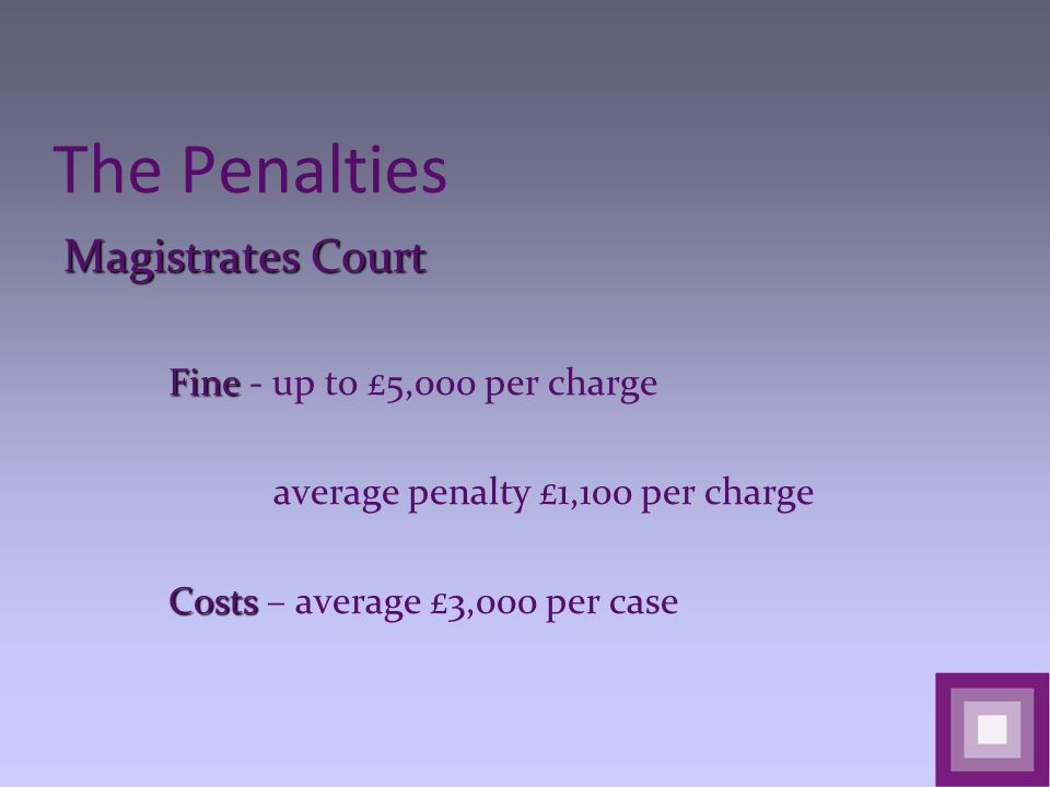The Penalties Magistrates Court Fine Fine - up to £5,000 per charge average penalty £1,100 per charge Costs Costs – average £3,000 per case