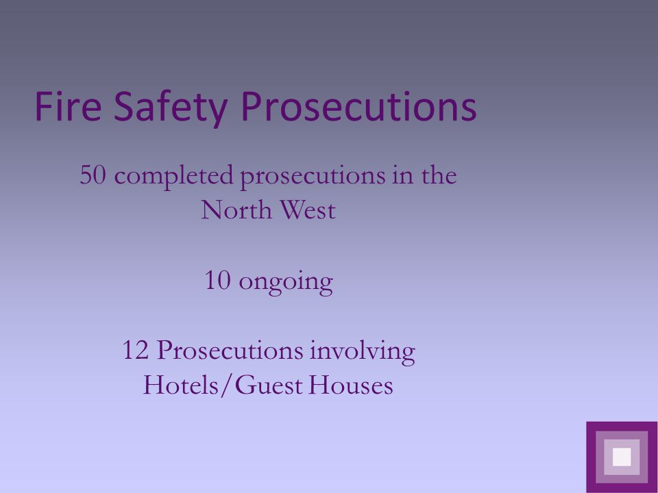 Fire Safety Prosecutions 50 completed prosecutions in the North West 10 ongoing 12 Prosecutions involving Hotels/Guest Houses