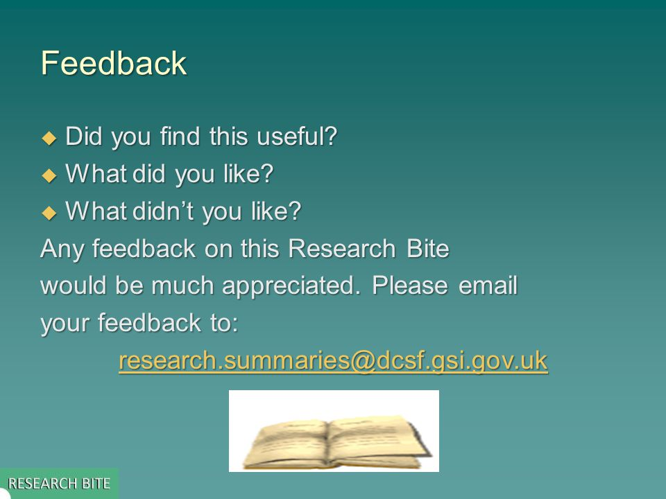 Feedback  Did you find this useful.  What did you like.
