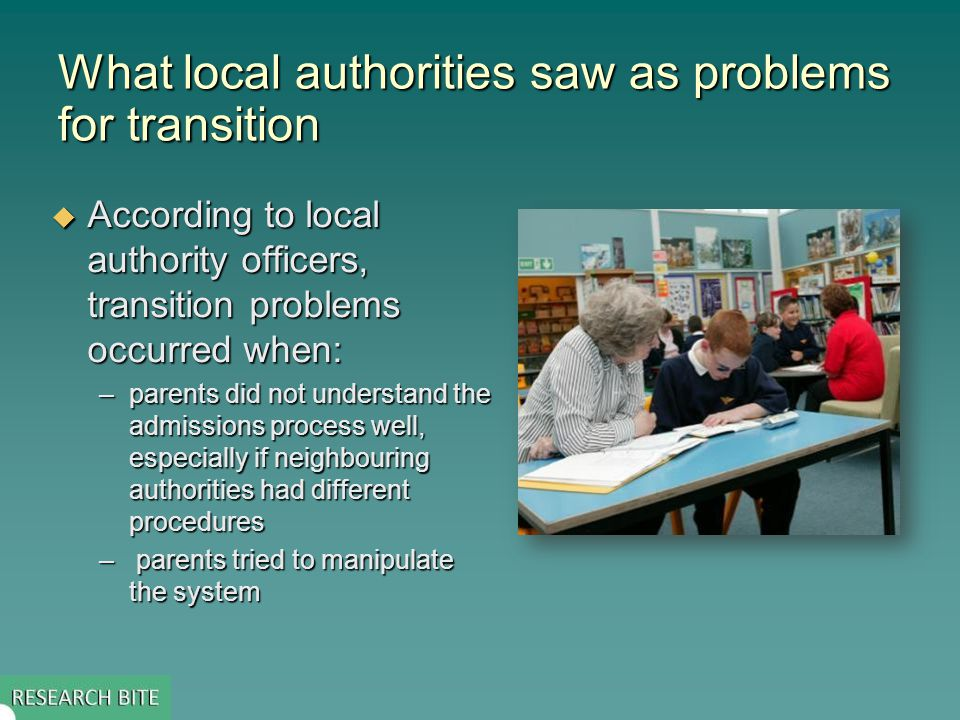 What schools saw as the main obstacles to successful transition  Secondary schools not having enough information about each child  Primary schools lacking knowledge of processes and procedures at secondary schools