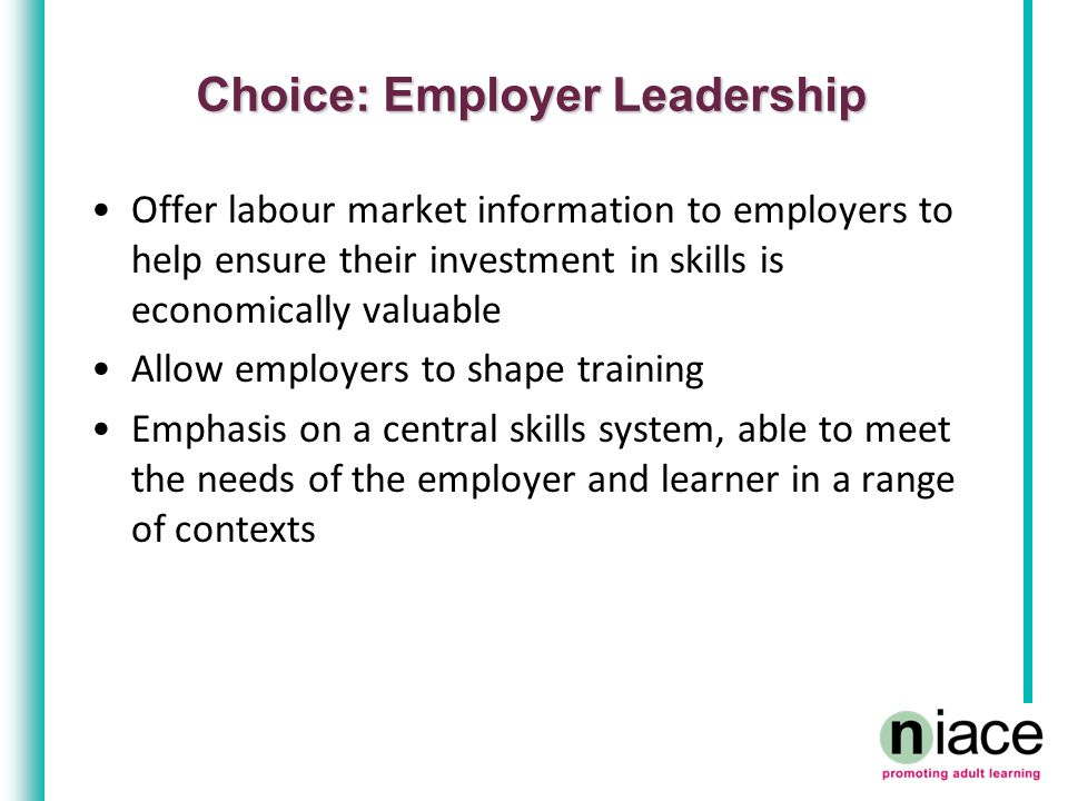 Choice: Employer Leadership Offer labour market information to employers to help ensure their investment in skills is economically valuable Allow employers to shape training Emphasis on a central skills system, able to meet the needs of the employer and learner in a range of contexts