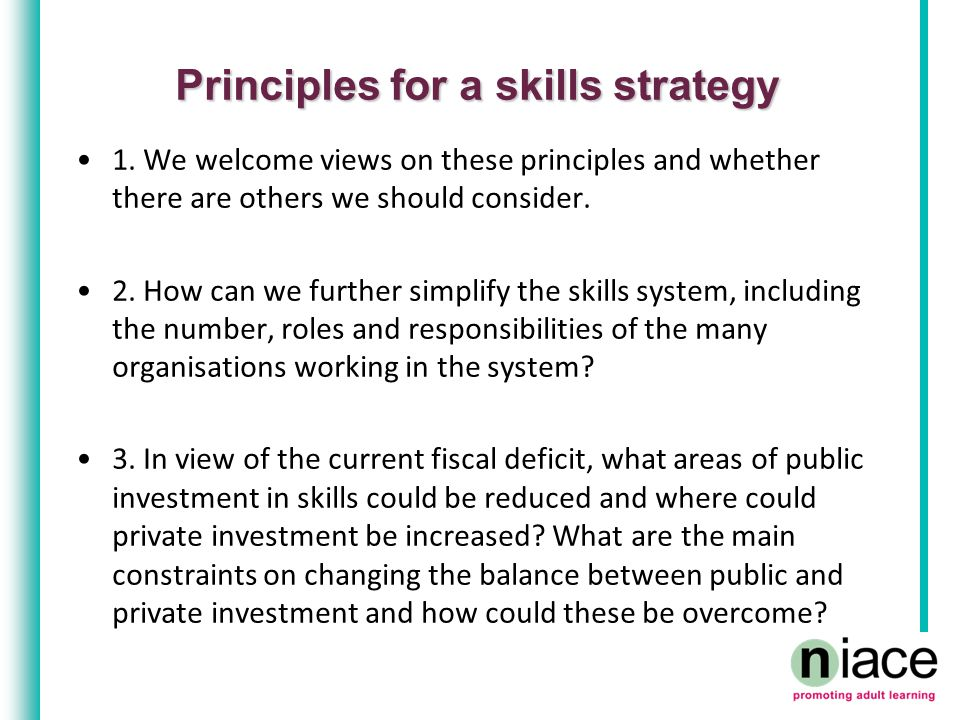 Principles for a skills strategy 1.