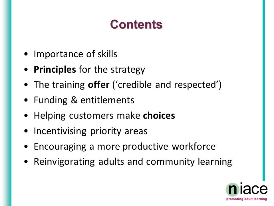 Contents Importance of skills Principles for the strategy The training offer ('credible and respected') Funding & entitlements Helping customers make choices Incentivising priority areas Encouraging a more productive workforce Reinvigorating adults and community learning