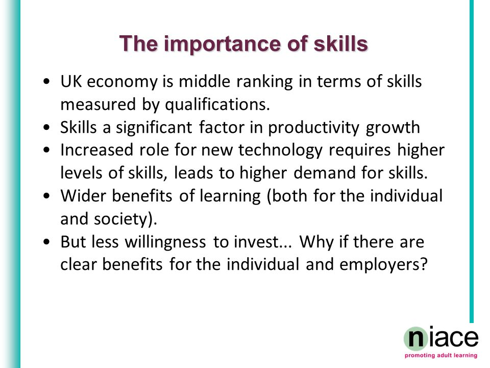 The importance of skills UK economy is middle ranking in terms of skills measured by qualifications.