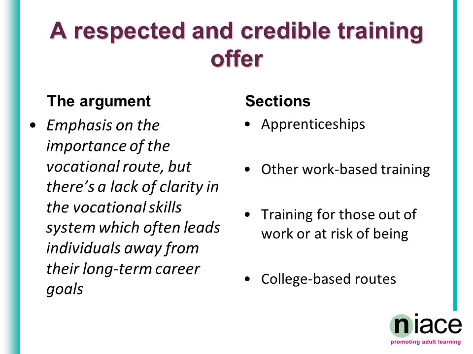 A respected and credible training offer The argument Emphasis on the importance of the vocational route, but there's a lack of clarity in the vocational skills system which often leads individuals away from their long-term career goals Sections Apprenticeships Other work-based training Training for those out of work or at risk of being College-based routes