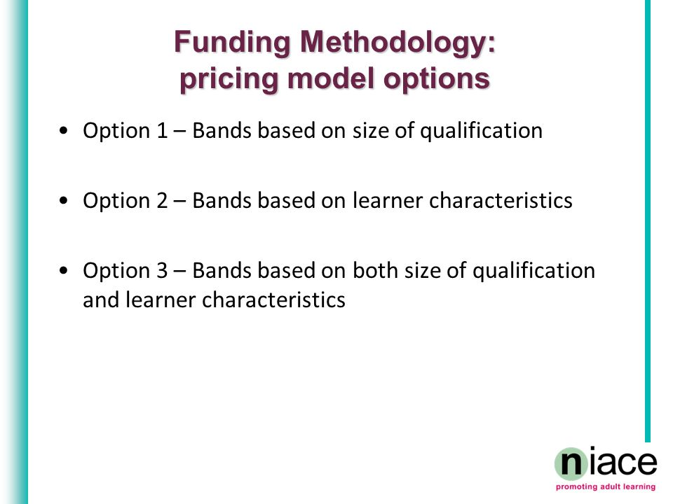 Funding Methodology: pricing model options Option 1 – Bands based on size of qualification Option 2 – Bands based on learner characteristics Option 3