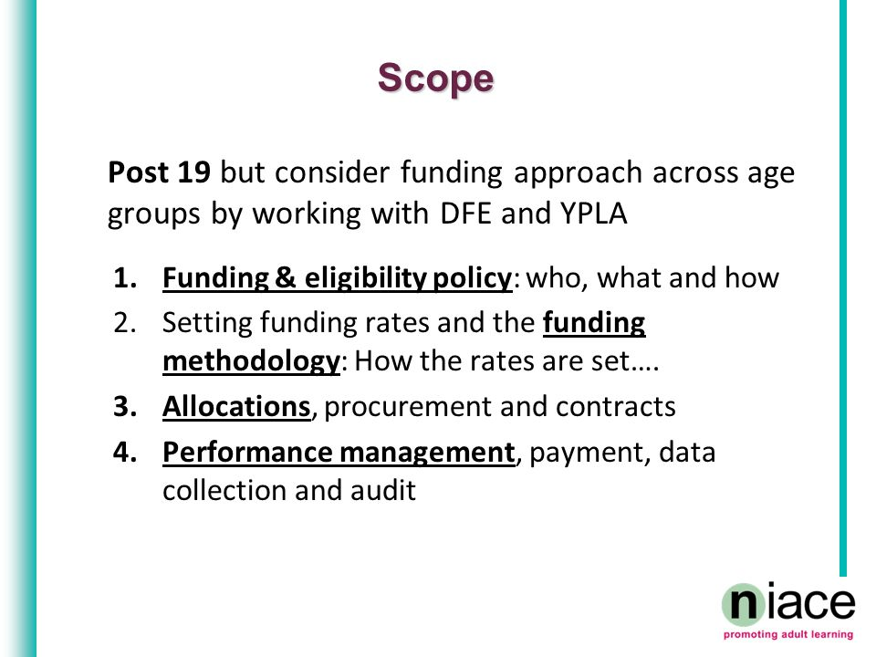 Scope Post 19 but consider funding approach across age groups by working with DFE and YPLA 1.Funding & eligibility policy: who, what and how 2.Setting funding rates and the funding methodology: How the rates are set….