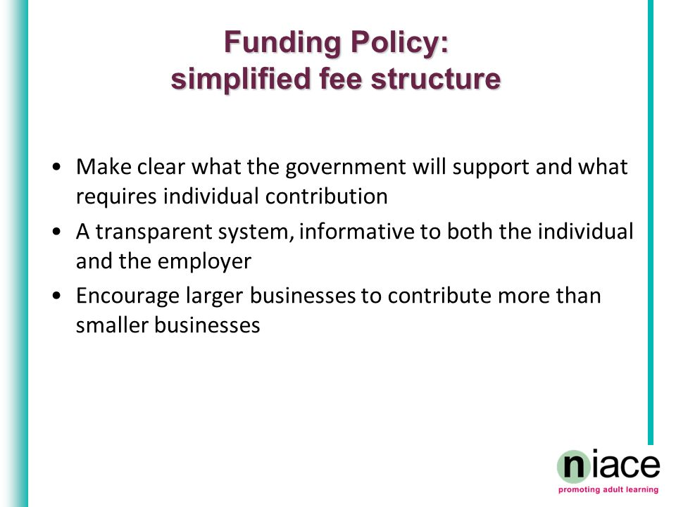 Funding Policy: simplified fee structure Make clear what the government will support and what requires individual contribution A transparent system, informative to both the individual and the employer Encourage larger businesses to contribute more than smaller businesses