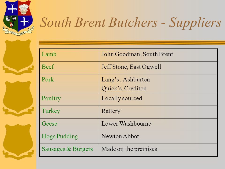 South Brent Butchers - Suppliers LambJohn Goodman, South Brent BeefJeff Stone, East Ogwell PorkLang's, Ashburton Quick's, Crediton PoultryLocally sourced TurkeyRattery GeeseLower Washbourne Hogs PuddingNewton Abbot Sausages & BurgersMade on the premises