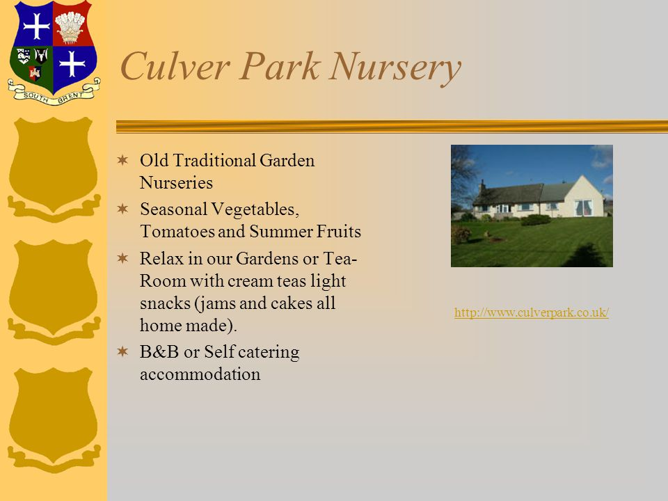 Culver Park Nursery  Old Traditional Garden Nurseries  Seasonal Vegetables, Tomatoes and Summer Fruits  Relax in our Gardens or Tea- Room with cream teas light snacks (jams and cakes all home made).