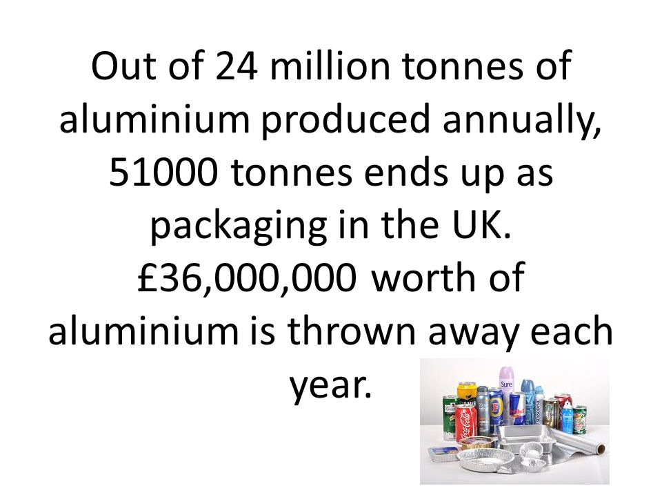 Out of 24 million tonnes of aluminium produced annually, 51000 tonnes ends up as packaging in the UK.