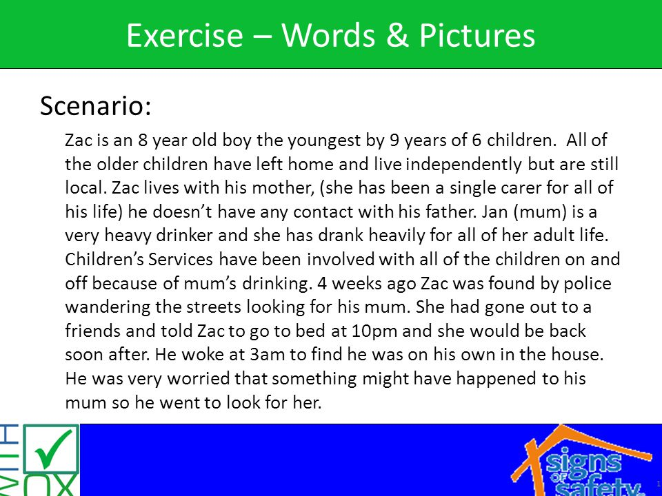 1 Exercise – Words & Pictures Scenario: Zac is an 8 year old boy the youngest by 9 years of 6 children.