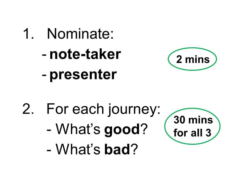 1. Nominate: -note-taker -presenter 2. For each journey: - What's good.