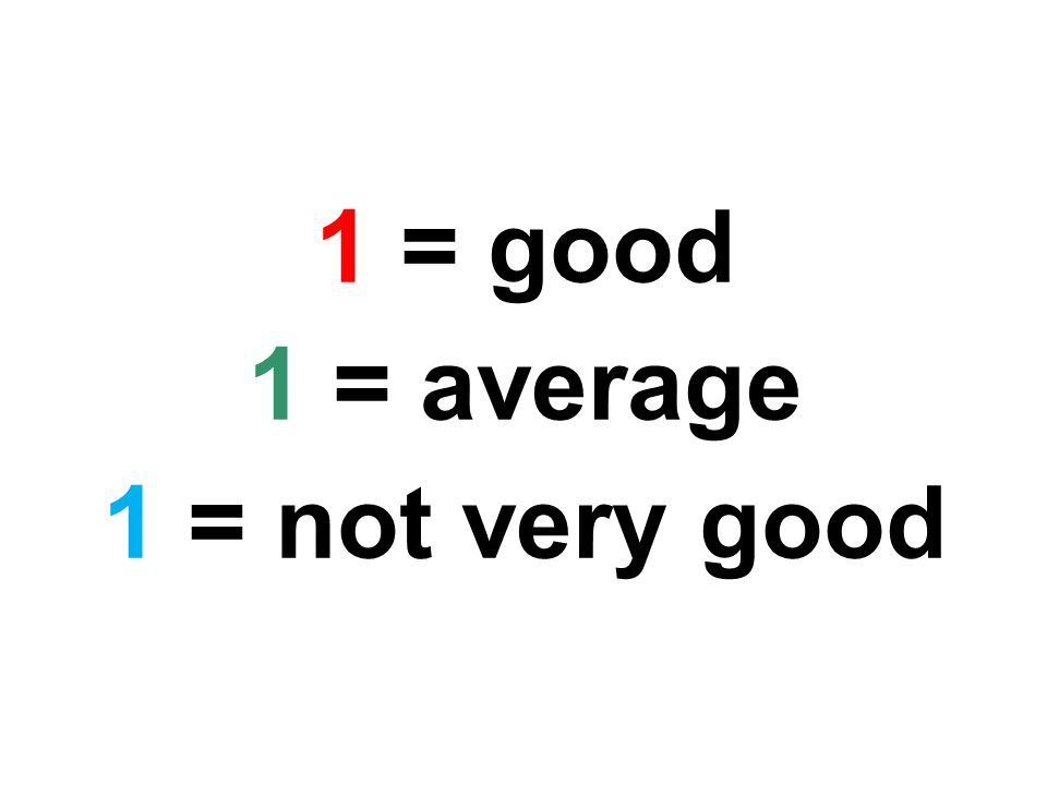 1 = good 1 = average 1 = not very good