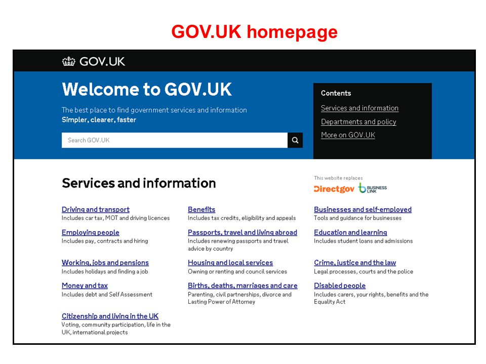 GOV.UK homepage