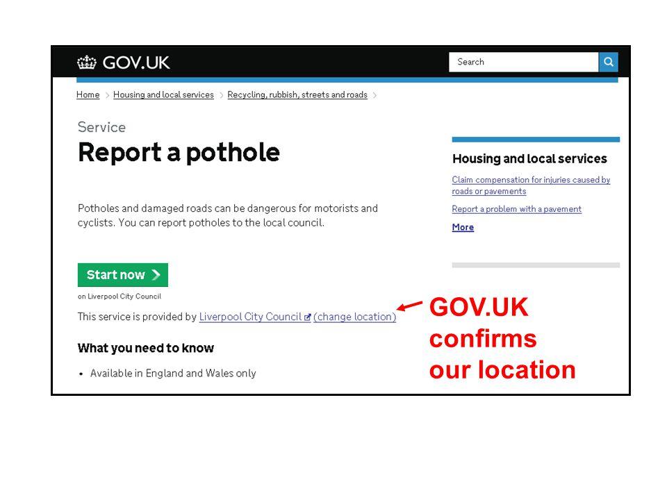 GOV.UK confirms our location