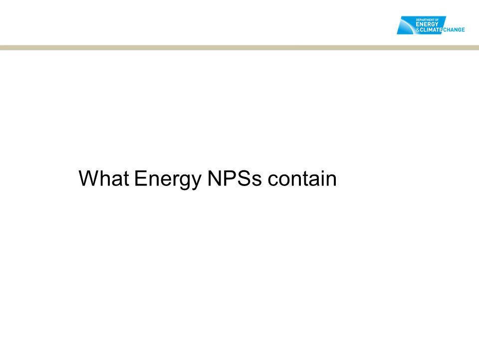 What Energy NPSs contain