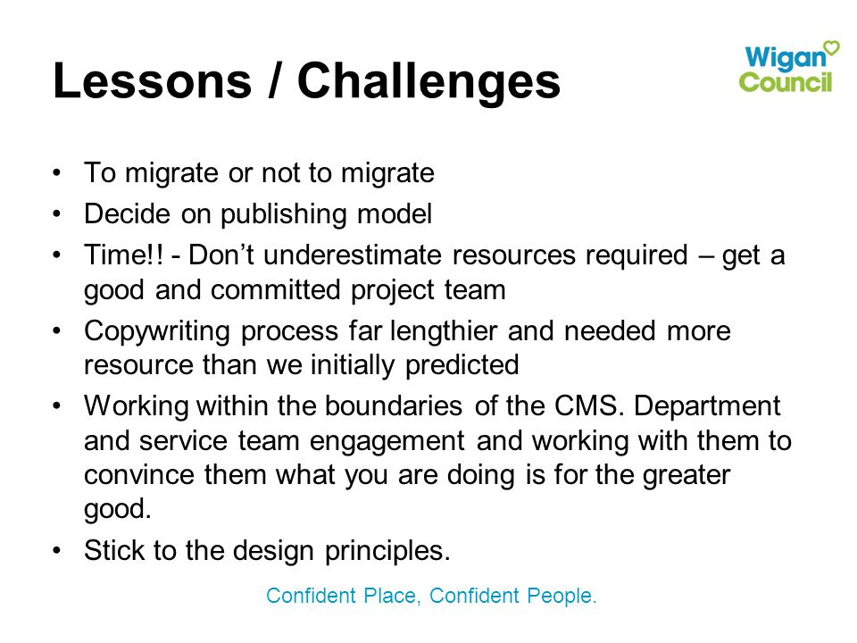 Lessons / Challenges To migrate or not to migrate Decide on publishing model Time!.