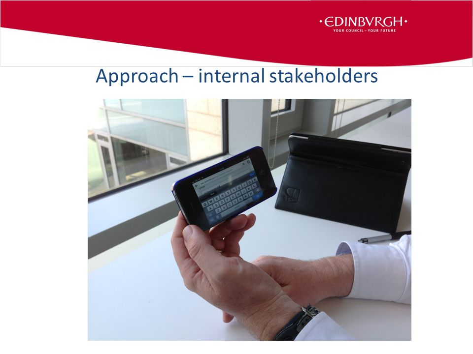 Approach – internal stakeholders Approach – inrnal stakeholders