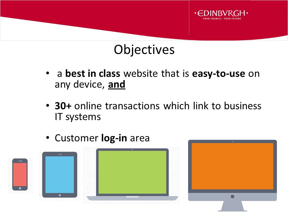Objectives a best in class website that is easy-to-use on any device, and 30+ online transactions which link to business IT systems Customer log-in area
